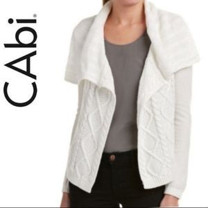 CAbi White Cable Knit Open Front Cardigan Sweater sz XS